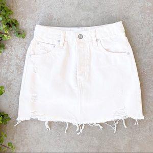 Boyish Corey Pinky Cream Denim Mini Skirt